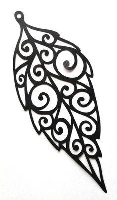 cut paper design Leaf Spiral Earring Design