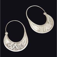 Bijoux Touareg Ethniques Boucles d'Oreilles Créoles en Argent Plates Gravées 3 cm 01