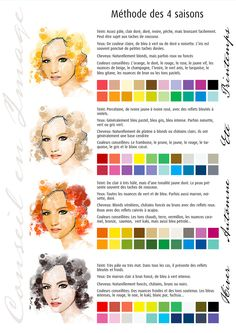 Conseil en image: la théorie des 4 saisons.  Quelle femme, quel homme êtes vous? La couleur de votre peau, de vos yeux, de vos cheveux déterminent votre caractère colorimétrique. Certaines couleurs vous vont mieux que d'autres, vous donnent bonne mine et mettent votre visage en lumière. Apprenez à reconnaître ces couleurs pour vos choix de bijoux, accessoires de mode et avec un peu de fantaisie, amusez vous…