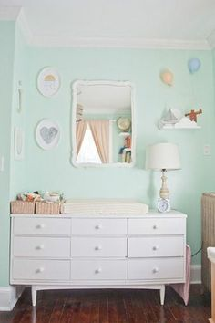 Refurbished thrift store dresser makes a unique changing table #nursery