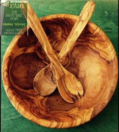Salad Bowl with salad servers Salad Bowls, Carving, Wood, Woodwind Instrument, Wood Carvings, Timber Wood, Sculptures, Trees, Printmaking