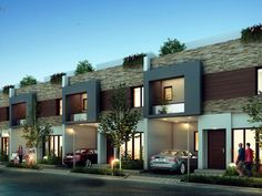 Property type for patio is row house. Modern Brick House, Modern Exterior House Designs, Architectural Design House Plans, Modern House Design, Villa Design, Row House Design, Duplex House Design, Terrace House Exterior, Facade House