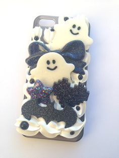 Decoden Kawaii Creepy Cute Resin Ghost Black & White Pixel Heart Bat Whipped Cream iPhone 5/5s Cell Phone Case on Etsy, $28.57 CAD