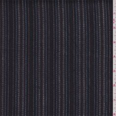 Black and charcoal greyherringbone background with powder blue, cocoa, taupe and white yarn dyed pinstripes.A medium weight 100% linen fabric with a soft feel.Compare to $20.00/yd