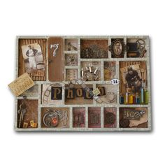 Tim Holtz Configurations Boxes Vintage Tray-Good idea for Bill's Dad's navy items and pics.