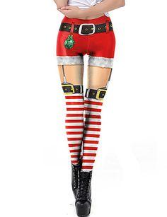 Women's Christmas / Dailywear / Yoga Sporty / Basic Legging - Geometric, Print Mid Waist Red S M L / Winter / Slim