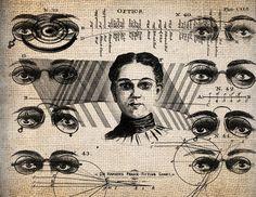 Antique Eyeglasses Optics Eye Chart Script Illustration