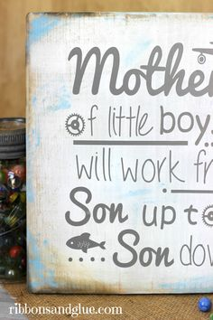 Any mother of boys would love this Mothers Of Little Boys Sign!    Just painted wood and vinyl.  Perfect for Mother's Day!   @silhouetteamerica @decoartpaints