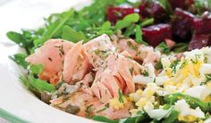 Arugula Salad with Salmon, Beets, and Eggs with Lemon-Caper Dressing  Looks so good.