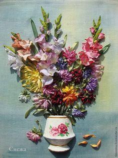 Купить ВАЛЬС ОСЕННИХ ЦВЕТОВ - белый, Вышивка лентами, гладиолус, цветы из ткани, картины в подарок