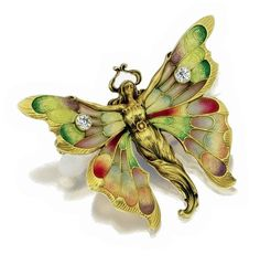 ART NOUVEAU 18 KARAT GOLD, PLIQUE-À-JOUR ENAMEL AND DIAMOND BROOCH, WHITESIDE & BLANK, CIRCA 1905-1910 Designed as a female figure with butterfly wings applied with plique-à-jour and translucent polychrome enamel, further accented with 2 old European-cut diamonds, signed with the maker's mark for Whiteside & Blank.