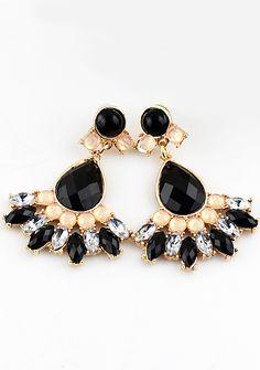 Black Drop Gemstone Gold Earrings - Sheinside.com