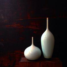 Set of 2 Large Turquoise Bottle Vases by Sara Paloma by sarapaloma