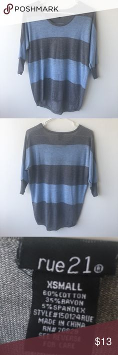 Rue21 Blue Grey Striped Mid Sleeve Top Only worn 1-2 times, like new condition. Rue 21 Tops