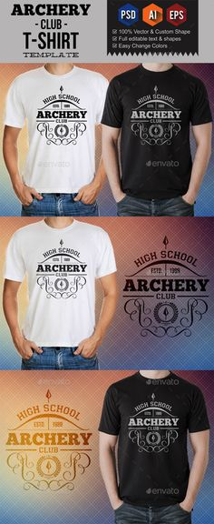 DESCRIPTION Archery Club T-Shirt Templates made with 100 vector shapes & photoshop shapes that the elements are great for use any Archery Club, Archery Logo, Archery Shirts, Color Vector, Vector Shapes, Heat Press, Club Shirts, Team T Shirts, Shirt Template