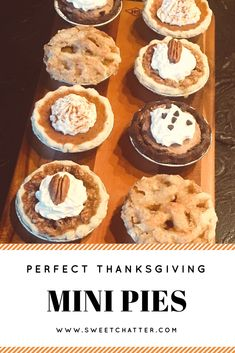 Mini pies are perfect for Thanksgiving! So delicious! The best dessert! Mini pies are perfect for Thanksgiving! So delicious! The best dessert! Mini Desserts, Holiday Desserts, Holiday Baking, Just Desserts, Holiday Recipes, Dessert Recipes, Mini Dessert Tarts, Holiday Pies, Plated Desserts