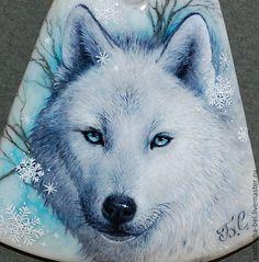 сНежности... Волк.. - лаковая миниатюра,снежный,живопись маслом,живопись на камне
