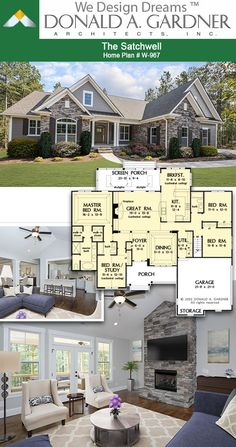 House Plans - The Satchwell - Home Plan 967 - Great room of The Satchwell house plan 2097 sq ft Lake House Plans, Family House Plans, Ranch House Plans, Cottage House Plans, Craftsman House Plans, Country House Plans, New House Plans, Dream House Plans, Modern House Plans