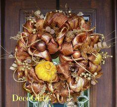 COPPER and BRONZE Striped Deluxe Mesh Fall Wreath by decoglitz