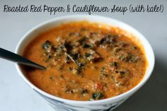 Balance Body & Soul Nutrition // Health Tips Blog // An Easy Roasted Red Pepper & Cauliflower Soup (with Kale, of course!)