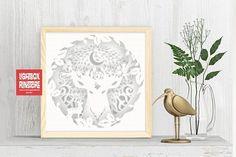 Bogo #97 Home decorations Deer Spirit svg, 3D Shadow box | 3D Papercut Lightbox
