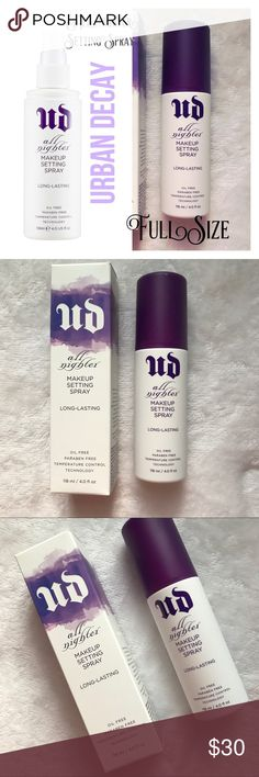URBAN DECAY All Nighter Makeup Setting Spray NIB Urban Decay All Nighter Makeup Setting Spray. Full Size 4.0 Fl oz. NIB Description for use is in close up pics. Additional information provided in pics. Please let me know if you have any questions. 30% discount when bundling. No trades! Urban Decay Makeup Face Primer