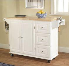 White-Kitchen-Cart-w-Storage-Wood-Drop-Leaf-Island-Serving-Table-Cabinet-Utility