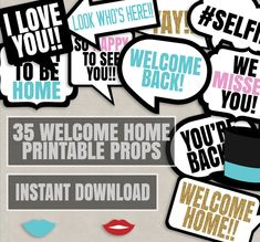 Welcome Home Photo Booth Props, Welcome back party photo booth printable props…