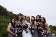 Bridesmaids in grey gowns. Modern wedding photography, Leeds, Ha