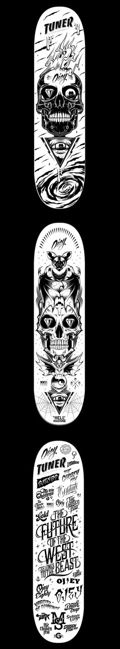 Skateboard set by Ojey 80 , via Behance