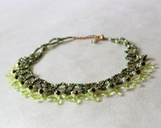 Light green beaded necklace. Wedding. Victorian Lace Collar Necklace. Beadwork. Beaded Jewelry, Ready to ship.