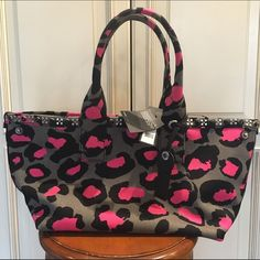 NWT Marc By Marc Jacobs Leopard Embellished Tote NWT Marc By Marc Jacobs Leopard Embellished Canvas Tote in raspberry sorbet. Double handle. snap close. see measurements above! Marc Jacobs Bags Totes
