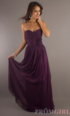 Classic Long Strapless Sweetheart Gown (Plum)