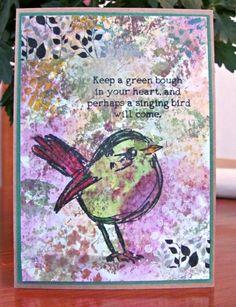 Mixed Media Bird Card by Turleyfamily - Cards and Paper Crafts at Splitcoaststampers