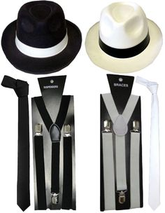 LADIES GANGSTER COSTUME KIT BOB WIG BRACES TIE WOMENS 1920/'S FANCY DRESS SET