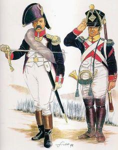 Comandante di battaglione e cornetta dei volteggiatori della fanteria di linea francese