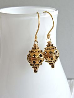 The Thurible earrings - ornate antiqued vermeil beads are completed with bright vermeil ear wires - elegant, luxe, and versatile! Cool Style, My Style, Balinese, Decorative Bells, Truro Cathedral, Jewlery, Sparkle, Style Inspiration, Beads
