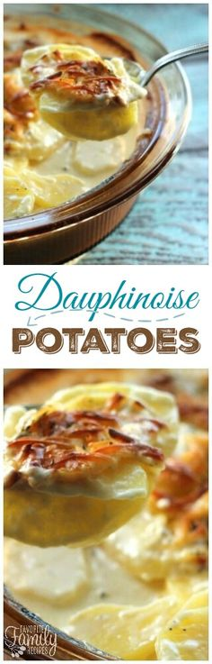 Dauphinoise Potatoes are also known as Potatoes Au Gratin or Scalloped Potatoes. They are an easy, cheesy potato side dish that does great with any meal! via @favfamilyrecipz