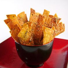 Parmesan Tortilla Crisps @keyingredient #cheese #appetizer