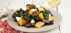 Roasted Kale and Beet Salad with Goat Cheese. Healthy, filling, pairs well with wine. http://www.chefd.com/collections/all/products/roasted-kale-beet-salad