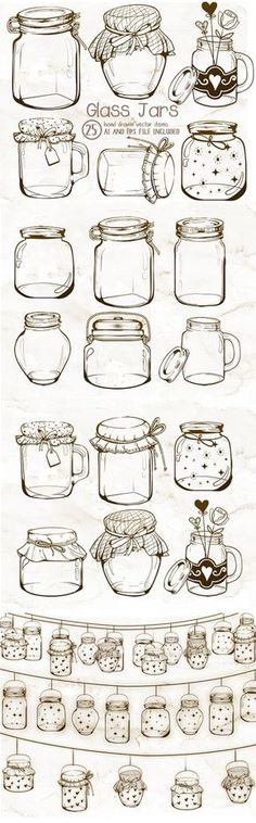 This is a listing for a set of mason or glass jars clipart. Every graphic included in this set was hand drawn and sketch in Adobe Photoshop and #artsketches