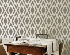 Give your home a modern, art deco look with this fun, easy Geometric Pattern! Reinvent your dining room with lavish blooms or stately oaks. Show off your whimsical side with the Oceana series in your Geometric Patterns, Wall Texture Patterns, Geometric Stencil, Wall Patterns, Textures Patterns, Geometric Wallpaper, Wallpaper Stencil, Wallpaper Ideas, Wall Wallpaper