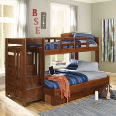 Woodcrest Heartland Twin Over Full Bunk Bed With Stairs - Chocolate
