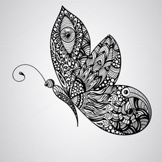 Vector Butterfly by alexmakarova vector black butterfly, tattoo syle,, fully editable eps 10 file Doodle Art Drawing, Zentangle Drawings, Mandala Drawing, Cool Art Drawings, Art Drawings Sketches, Zentangles, Butterfly Mandala, Butterfly Drawing, Butterfly Illustration