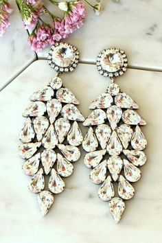 Bridal LONG Earrings, Swarovski White Crystal Statement Earrings,Swarovski Bridal Earrings,Bridal Chandelier Earrings,Bridal Dangle Earrings  ♥IF YOU