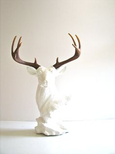 Hey, I found this really awesome Etsy listing at https://www.etsy.com/listing/224346333/stag-animal-bust-statue-in-white-with