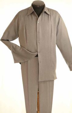 linen walking suits for men | Home Vittorio St Angelo Men's 2pc Long Sleeve Solid Walking Suit