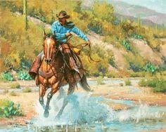 Ridin The Wind by Steve Atkinson Oil ~ 16 x 20