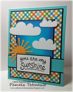"""airbornewife's stamping spot: Day 1. Distress Ink Sky """"YOU ARE MY SUNSHINE"""" card using Lawn Fawn stamps/dies *W/MEASUREMENTS"""