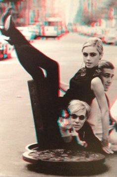 Andy Warhol with Edie Sedgwick & Chuck Wein in NY, 1965, photo by Burt Ginn from Andy's World in 3D @Christie's.